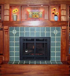 """Arts & Crafts Fireplace  -#106 Blue Special field tile with Rookwood """"Compass Board"""" deco tiles and #816 Matte Dark Red accents"""