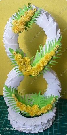 """Готовлюсь к весеннему празднику. Спасибо моим вдохновителям, восьмёрку брала здесь http:// < ссылка удалена в соответствии с п. 2.4. <a href=""""/print/regulations"""">ПС.</a> > /origami/modulnoe-origami/7941-modulnoe-origami-kompoziciya-s-8-marta-master-klass-s-poshagovymi-foto.html, а украшала по МК Ольги Ольшак http://stranamasterov.ru/node/155924?c=favorite.  фото 1"""