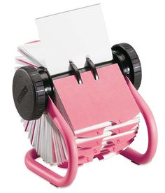 Pink Rolodex, pink, rolodex, office, office supplies, work, desktop, desktop supplies