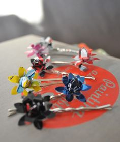 Tweet Hair Clips - Recycled Awesome and on Etsy.