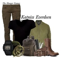 """Katniss Everdeen"" by belladels ❤ liked on Polyvore featuring CIMARRON, Topshop, James Perse, Madden Girl, Le Nom, Victorinox Swiss Army, Mudd, Scotch Shrunk, G-Shock and thehungergames"