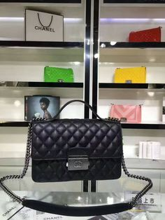 9e5a1ab79b89 Chanel top handle goatskin ruthenium metal navy blue derskin flap bag 93537  size 26x16x8cm 0700CH7 whatsapp +8615503787453