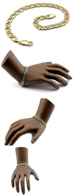 Precious Metal without Stones 164313: Womens 6 Mm Wide Chain Italian Bracelet 7 In Long In 14K Solid Gold BUY IT NOW ONLY: $388.0