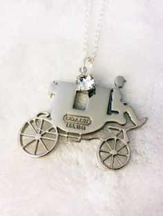 "22"" Silver Chain with Recycled Coach Pendant and Swarovski Crystal Handmade by U.BE.U. FASHION"