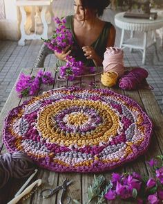 You will be obsessed with this incredibly gorgeous crochet mandala blanket pattern – Artofit Crochet Diy, Crochet Home, Love Crochet, Beautiful Crochet, Crochet Rugs, Crochet Mandala Pattern, Crochet Stitches, Crochet Patterns, Mandala Rug