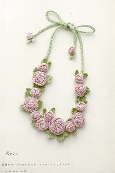 Crocheted rose necklace from Japanese craft book. Amazon.co.jp