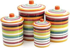 Amazon.com - Omniware Rio Multi-Stripe Ceramic 4 Piece Canister Set -