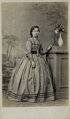CDV: Woman wearing a hooped dress by Holf of Williton, Somerset c.1865