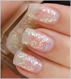 Just put white sparkles on your nail and then clear over it