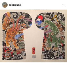 Godzilla and Ghidorah tattoo.
