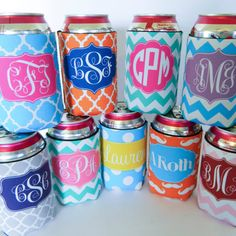 Personalized Monogram  Koozie for 12oz can or bottle - Custom Made - Design your Own on Etsy, $7.25