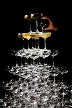champagne tower - Great Gatsby theme {So Eventful} Christmas And New Year, Christmas Themes, Champagne Tower, Great Gatsby Theme, Napa Valley, Wine Country, Corporate Events, Wedding Planner, Wedding Inspiration