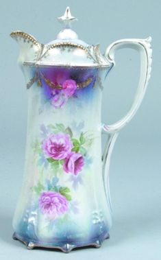 RS Prussia Rose Decorated Porcelain Chocolate Pot