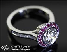 Full Bezel Ruby and Diamond Halo Engagement Ring | 10701