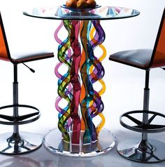 Tables with rainbows built in ~ Glass Bar Tables by H.studio