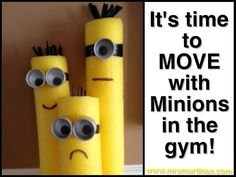 Create these Minions out of pool noodles to use in PE for tag games, fitness stations and more! The students will love them as much as adults do :) www.mrsmartinez.com