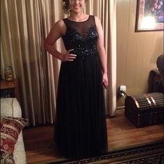 Black Sequin Prom Dress ❤️ can't believe I'm selling! only worn one time.. illusion dress, shows cleavage and just so gorgeous  David's Bridal Dresses