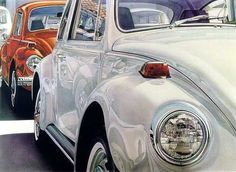 "Don Eddy is an American hyper-realist artist working primarily in acrylic on canvas. ""Eddy utilizes a unique system he has developed over the years, underpainting… Volkswagen, Hyper Realistic Paintings, Automotive Art, Car Painting, Mirror Image, Le Mans, American Artists, Artist At Work, Art History"