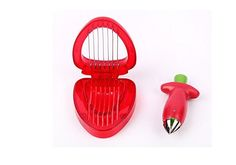 #1 Stainless Strawberry Huller and Slicer Red Strawberry Set Fruit Tool Removal