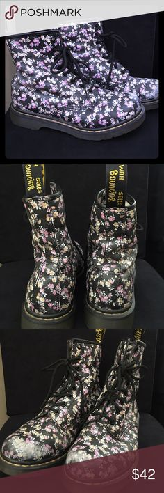 Floral on black Doc Martins Size 8 moderately used floral on black Doc Martins.  Adorable pattern! Dr. Martens Shoes Combat & Moto Boots