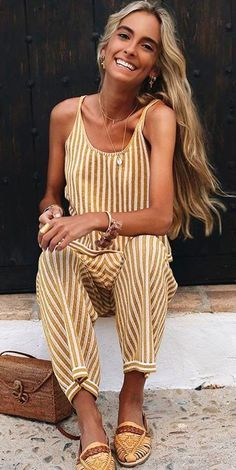 #fall #outfits women's gold and white romper pants