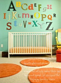 oooh my kind of nursery NEVER TOO YOUNG TO START YOUR ABCs