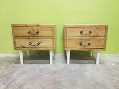 View our latest gorgeous design - reclaimed Oregon beside table with solid white turned legs and beautiful Vintage handles
