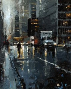 """Daily Paintworks - """"Moving Truck NYC"""" - Original Fine Art for Sale - © Victor Bauer Skyline Painting, Cityscape Art, City Painting, Painting Art, City Landscape, Urban Landscape, Landscape Paintings, Rain Art, Nocturne"""