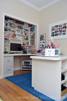 creative space in a closet and around the room - some great ideas for my closet sewing area