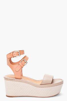 Chloe Nude Platform Sandals for women | SSENSE