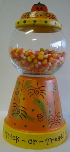 ... similar to Trick Or Treat Halloween Terra Cotta Candy Jar on Etsy