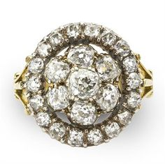 A VICTORIAN DIAMOND CLUSTER RING 1870