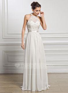 A-Line/Princess Scoop Neck Floor-Length Chiffon Charmeuse Lace Wedding Dress With Beading Sequins (002056982) - JJsHouse