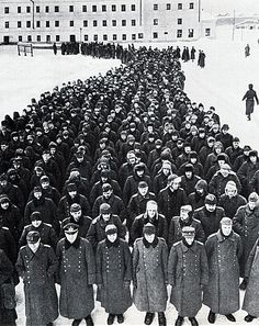 Officers and soldiers of the Wehrmacht, who captured at Stalingrad. 1943 January.