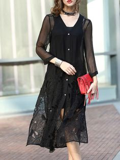 Pierced Silk Midi Dress