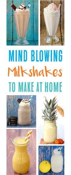 Milkshake Recipe Ideas! 8 EASY and mind blowing Homemade Milkshakes you need to try this year!   TheFrugalGirls.com