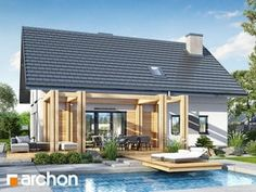 Dom w jabłonkach 17 Bungalow Exterior, Home Fashion, House Plans, Pergola, House Design, Outdoor Decor, House Styles, Conversation, Garage
