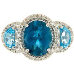 Phillip Gavriel London Blue Topaz & Light Swiss Blue Topaz Diamond... ($220) ❤ liked on Polyvore