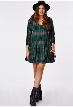 Green Tartan Skater Dress- Missguided. A bit lower cut on me than it is on the model. A scarf will fix that for work wear.
