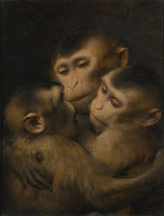 "art-and-things-of-beauty: "" Gabriel Cornelius Ritter von Max - Three monkeys, oil on canvas, x 27 cm. A4 Poster, Poster Prints, Pet Monkey, Monkey Art, European Paintings, Cornelius, Animal Heads, Vintage Artwork, Baby Animals"