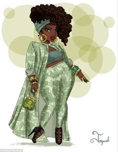 """What if our Disney Princesses had a bit more body diversity? Plus size artist, Jonquel Norwood reimagines and restyles them for her Magic at Any Size Series! Plus Size Art Spotlight: Jonquel Norwood's """"Magic At Any Size"""" Series thecurvyfashionis. Art Black Love, Black Girl Art, My Black Is Beautiful, Art Girl, Plus Size Disney, Afrique Art, Plus Size Art, Natural Hair Art, Black Art Pictures"""