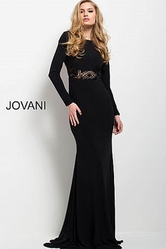 9bac5962f6f Black Long Sleeve Sheer Waistline High Neck Dress 60799