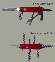 Swiss Army Knife vs. Russian Army Knife