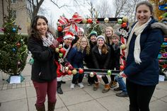 """""""Howard Halliday,"""" an event sponsored by Howard Hall featuring cookies and hot chocolate as well as a Christmas tree decorating competition between dorms. The event on Fieldhouse Mall is also a fundraiser for charity through purchasing votes for the best tree."""