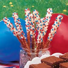 pretzel sticks - dip pretzel in store-bought frosting (thinned out with a few drops of water) or chocolate, then decorate with nuts or sprinkles