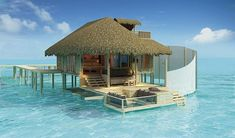 Tahiti bungalow - can you imagine living in a house on the water? Beautiful! Definitely wanna go here