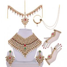 Custom Made Indian Dresses - Wedding Wear Online Bridal Jewelry Sets, Bridal Jewellery, Bridal Accessories, Jewelry Accessories, Indian Wedding Jewelry, Indian Jewelry, Rose Corsage, Fancy Jewellery, Necklace Designs