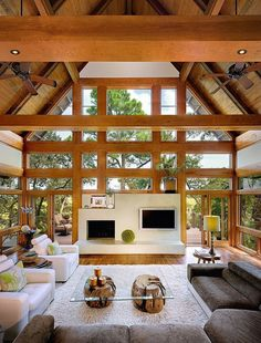 Expansive great room with latticed beams forming the end wall in this home on Kiawah Island, South Carolina.