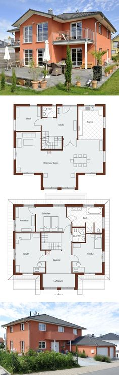 Country House City Villa with Garage & Tent Roof Architecture - Floor Plan 200 sqm with gallery and bay window extension - Building house ideas Prefab. Villa Design, House Design, Prefab Homes Canada, Playground Flooring, Home Design Floor Plans, Roof Architecture, Garage Design, Paint Colors For Home, Dream House Plans