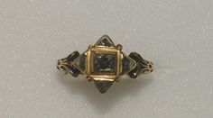 Love ring Germany Late 16th century Gold fede ring, the square bezel set with a diamond within four triangular lobes also set with diamonds, the hoop chased and enamelled black at the shoulders with clasped hands beneath